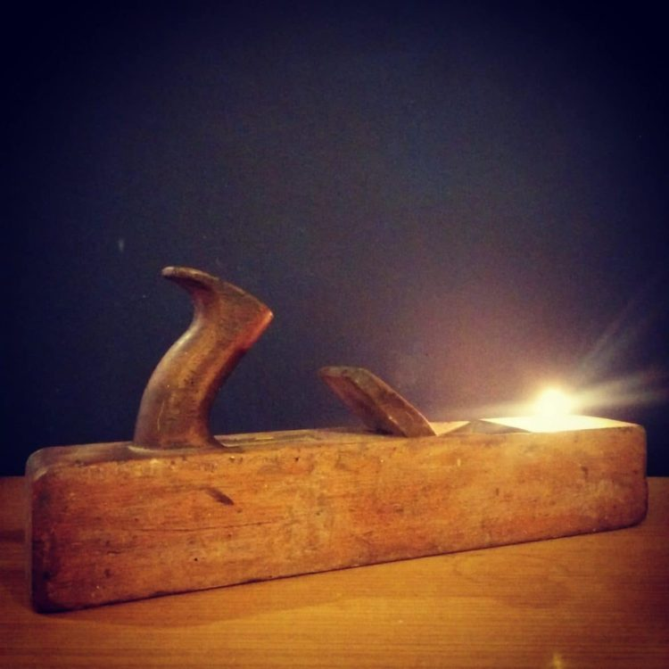 Rustic Vintage Lamp with Wooden Plane Tealight Holder - wood-lamps, table-lamps