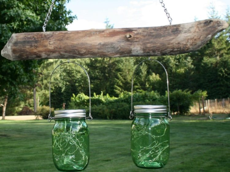 Rustic Driftwood Mason Jar Light