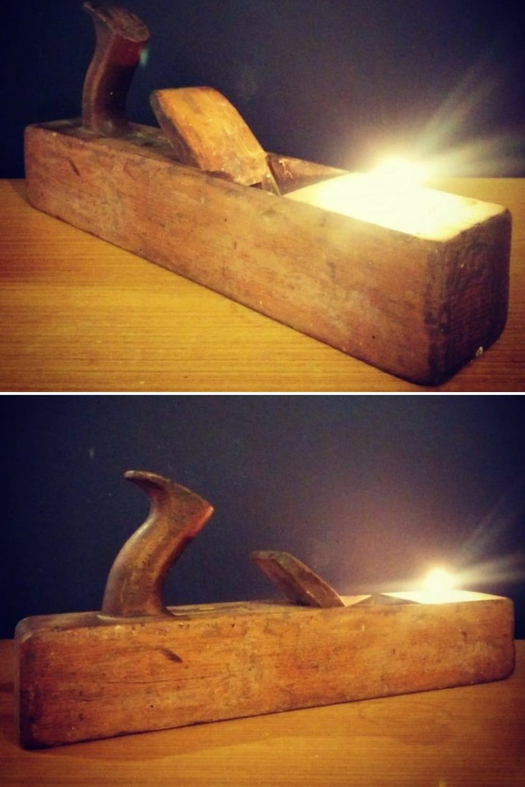 This unique rustic vintage lamp: tea light holder is lovingly made at Pop Up HQ. It is made from a vintage recycled, upcycled wooden plane. There are times when old tools finally reach the end of their useable working life, and this is the case of this vintage wooden plane. #candles #diylighting #handmadelighting #industrial #lamp #led #lighting #lightingdesign #recycle #rusticlighting #tutorial #vintagelighting #woodlamp #woodworking