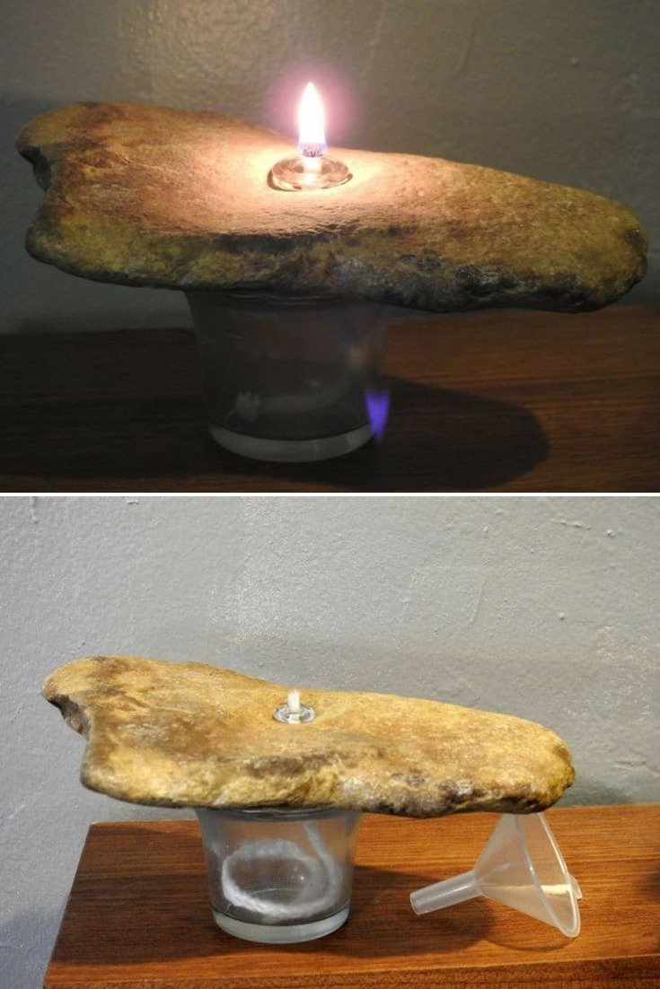 Rock oil lamps are a great alternative to normal wax candles! They last for years, have less mess but still the same great glow! Since you are burning the oil off the wick, they last much longer than the alternative, plus you have no messy wax to deal with! #candles #concept #diylighting #handmadelighting #lamp #lighting #lightingdesign #recycle #steampunk #tablelamp