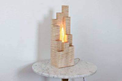 Wood Cityscape Table Lamp