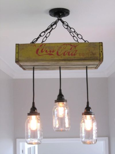 Recycled Coca-Cola Woodcase Chandelier6