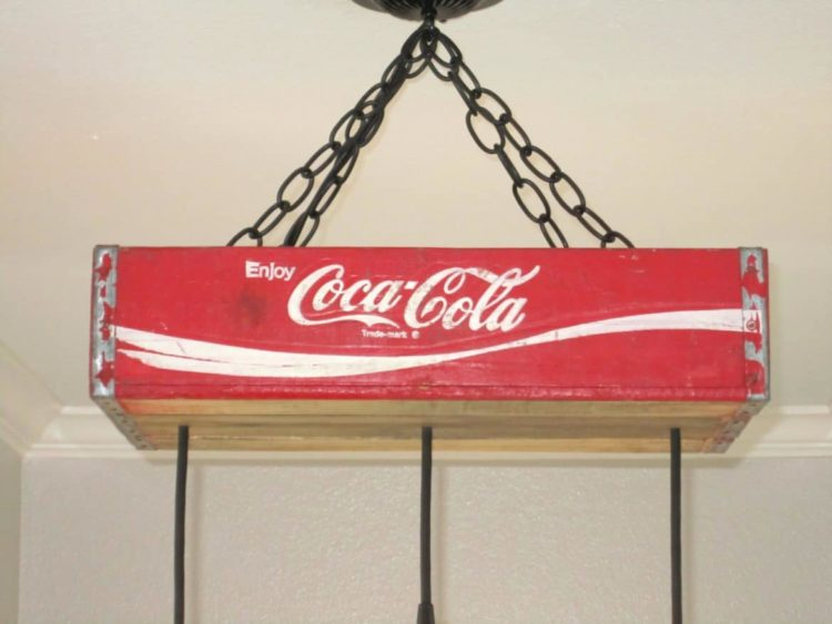 Recycled Coca-Cola Woodcase Chandelier