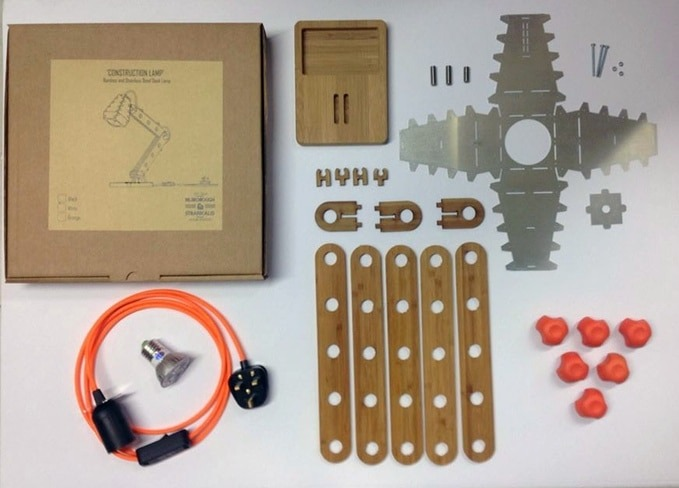 A Construction Desk Lamp Kit for the Big Kid inside all of us - wood-lamps, desk-lamps