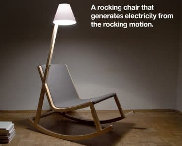 A Wood Rocking Chair That Produces Light
