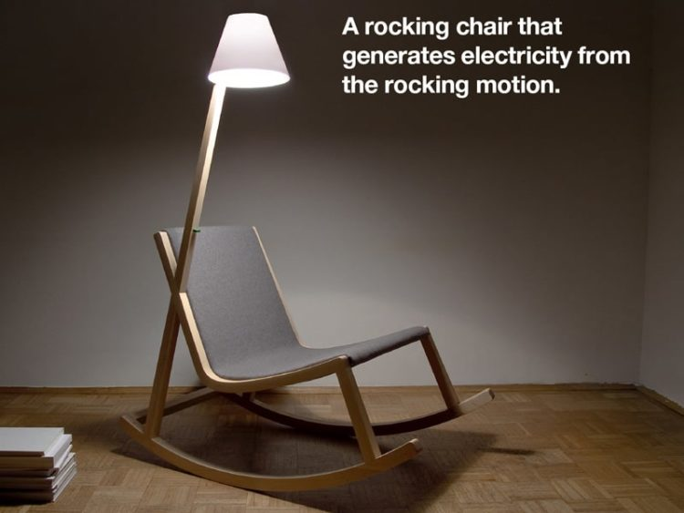 A Wood Rocking Chair with Floor Lamp That Produces Light Floor Lamps Wood Lamps
