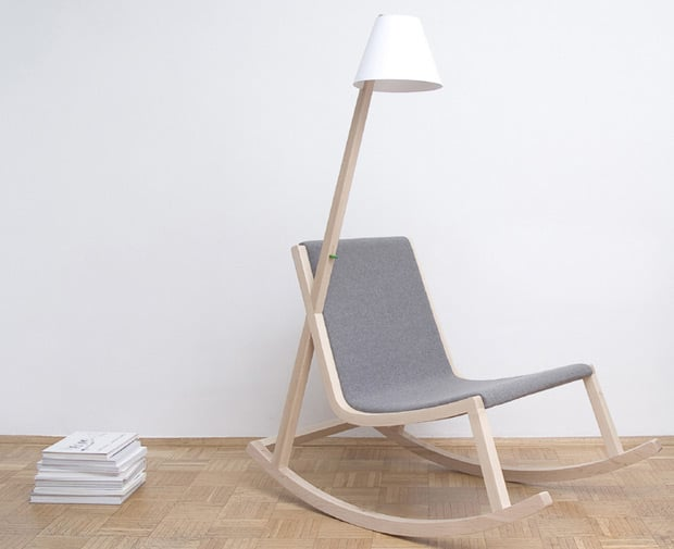 A Wood Rocking Chair with Floor Lamp That Produces Light - wood-lamps, floor-lamps