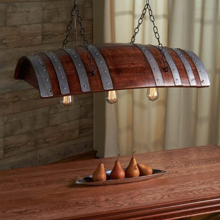 One Third Oak Wine Barrel Chandelier - wood-lamps, restaurant-bar, pendant-lighting