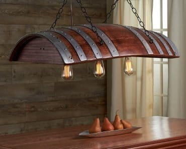 One Third Wine Barrel Hanging Light