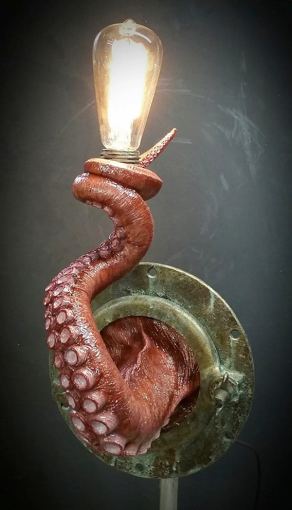 Realistic Nautical Tentacle Porthole Wall Sconce Wall Lamps & Sconces