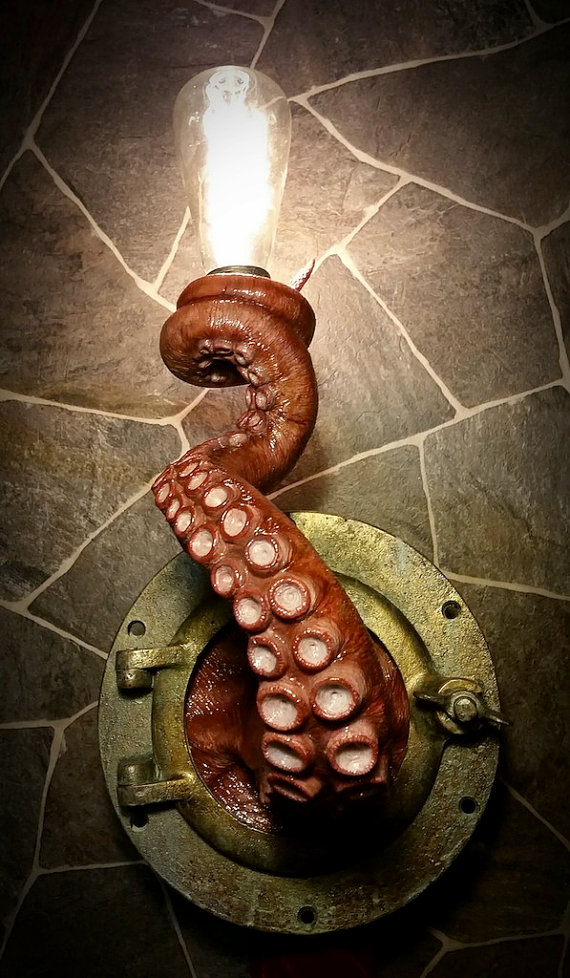Realistic Nautical Tentacle Porthole Wall Sconce   Wall Lights Sconces