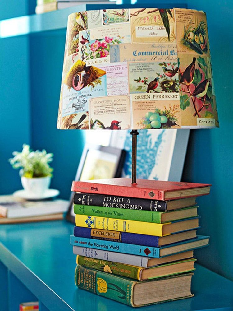 DIY Colored Books Table Lamp - table-lamps