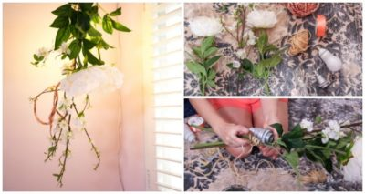 Cool DIY Hanging Flower Light Fixture