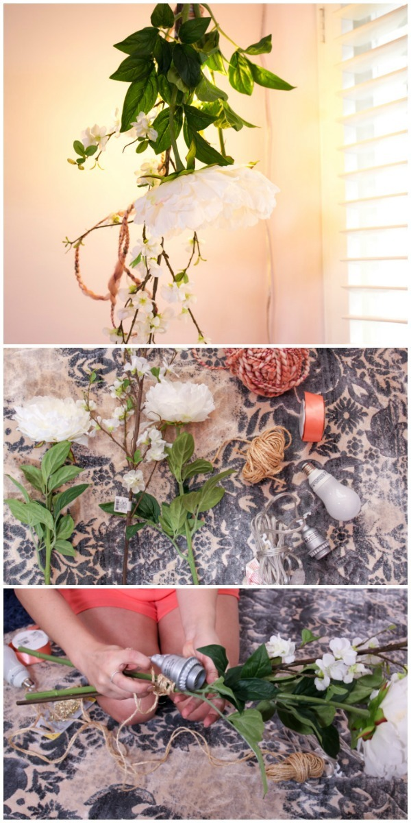 Cool DIY Hanging Flower Light Fixture - pendant-lighting