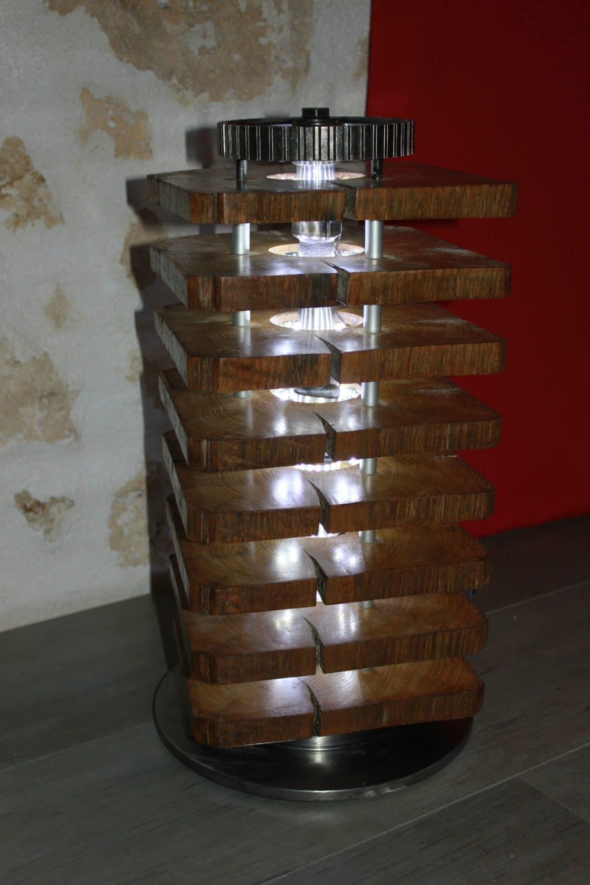 Diy Floor Lamp Wood Oak And Car Parts Lights