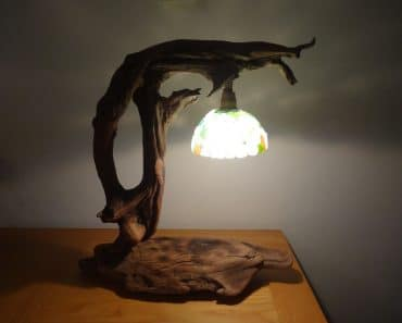 Driftwood and Frosted Glass Desk Lamp From Corsica