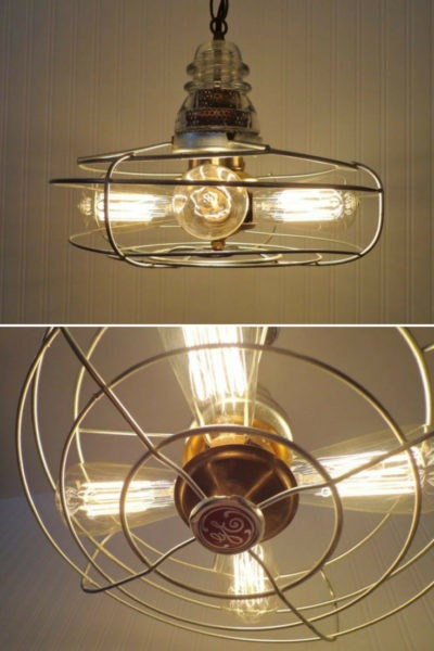 Early 1900's Chrome & Iron Vintage Fan Chandelier Pendant Lighting