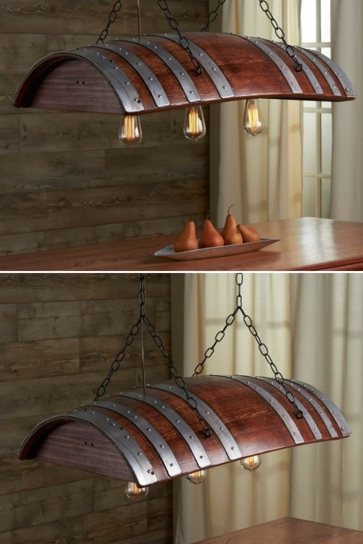 Amazing Oak Wine Barrel Chandelier Hand-Crafted and cut from a retired French oak wine barrel. Comes with three Edison light bulbs complementing the industrial look creatively combined with the timeless elegance of the white oak wine barrel. Comes with hanging hardware, chains and 3 Edison Light Bulbs. Hangs from two hooks 15\
