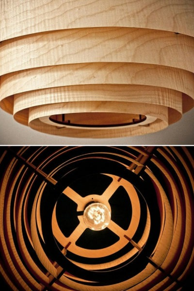 Wood Veneer Boll Chandelier Pendant Lighting