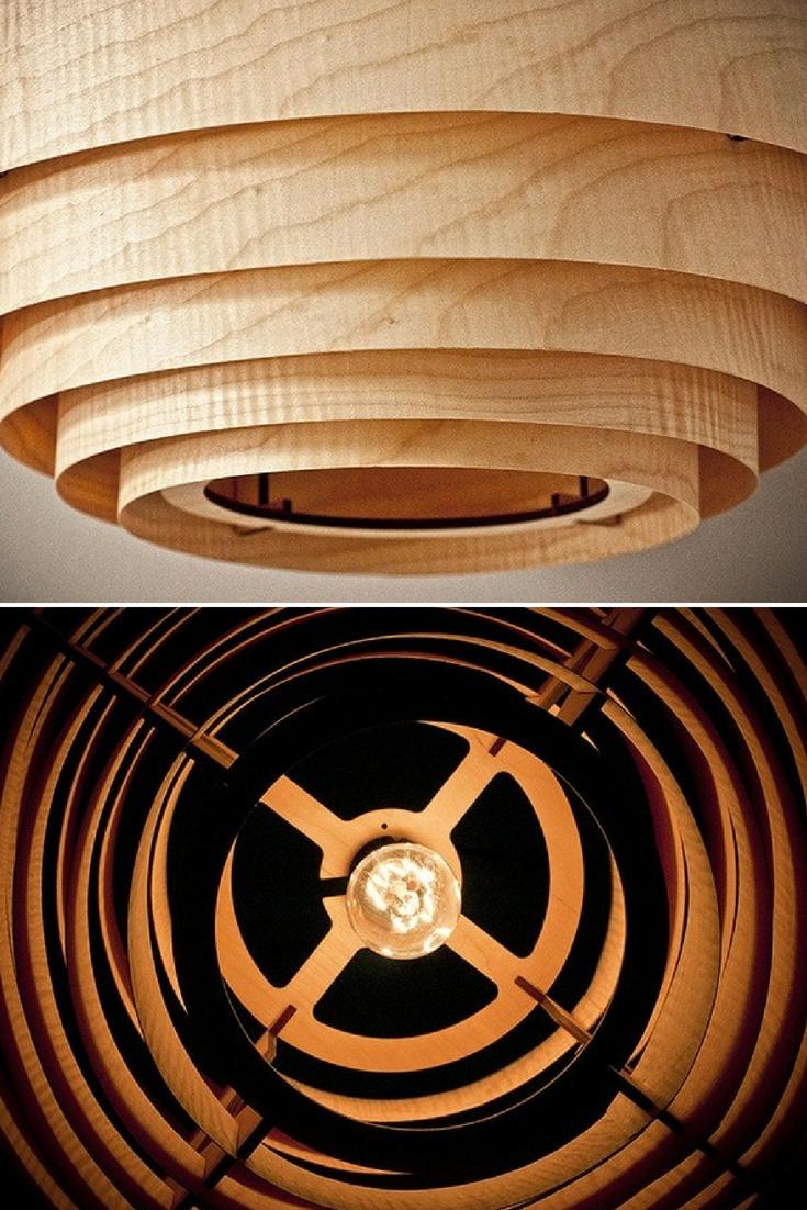 Wood Veneer Boll Chandelier Pendant Lighting - wood-lamps, pendant-lighting