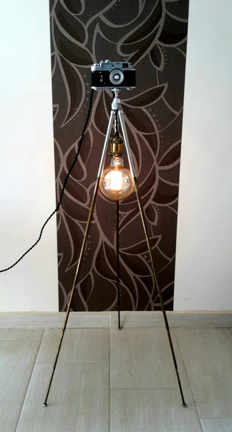 70's Tripod Antique Floor Lamp with Camera Dimmer - floor-lamps