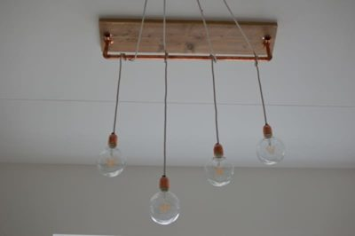 Beautiful Brass and Wood Chandelier