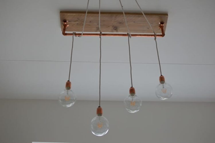 Beautiful Brass and Wood Chandelier - wood-lamps, flush-mount-lighting