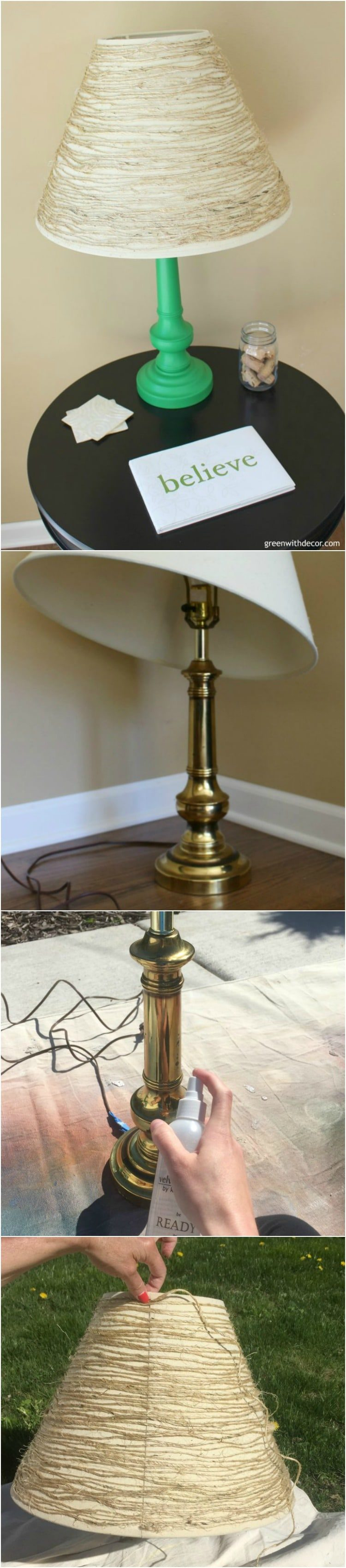 DIY Update an Old Table Lamp with Paint and Twine - table-lamps