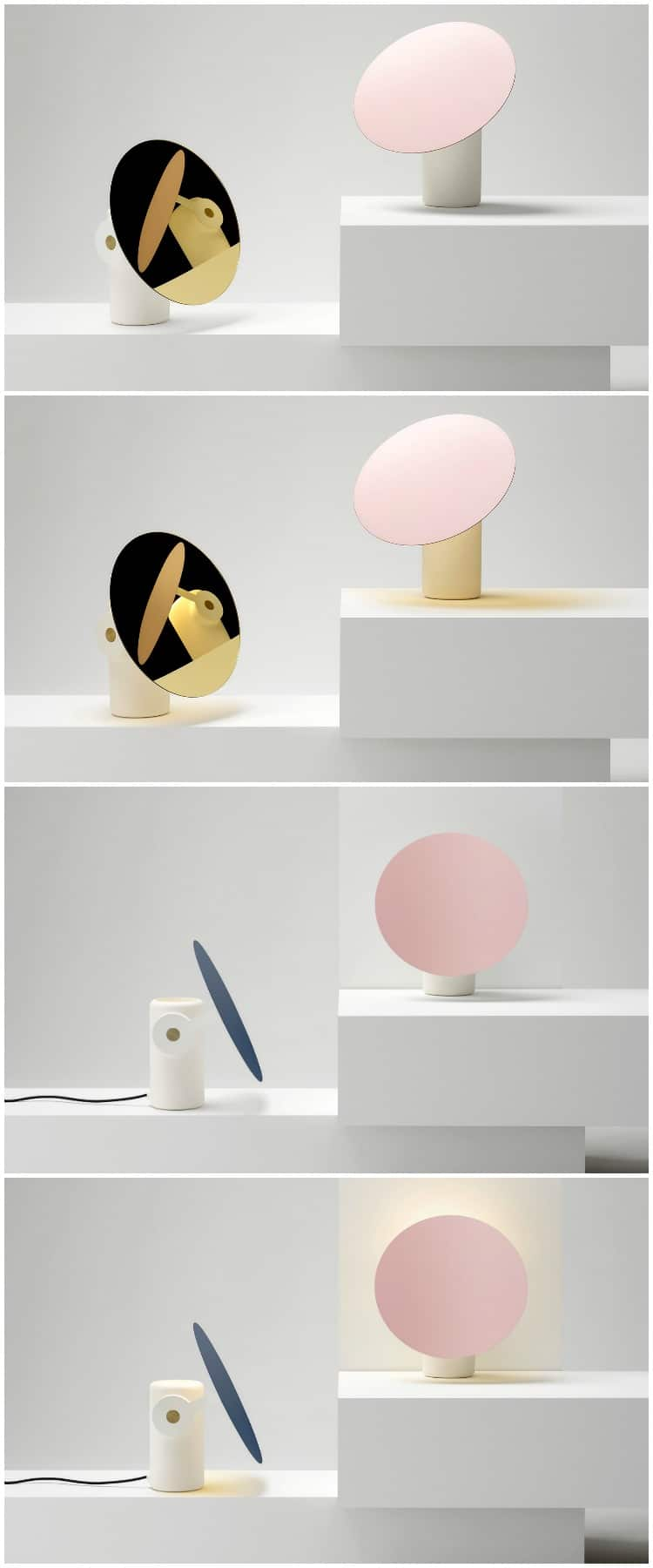 A circular motif is used throughout Polar defining its minimal operative form. The product utilises a unique magnetically attached arm to allow the disc to rotate around the body directing or shading light. A friction disc in combination with magnets molded into the ceramic body allows the arm to snap into place and to function. #concept #desklamp #gold #lamp #lighting #lightingdesign