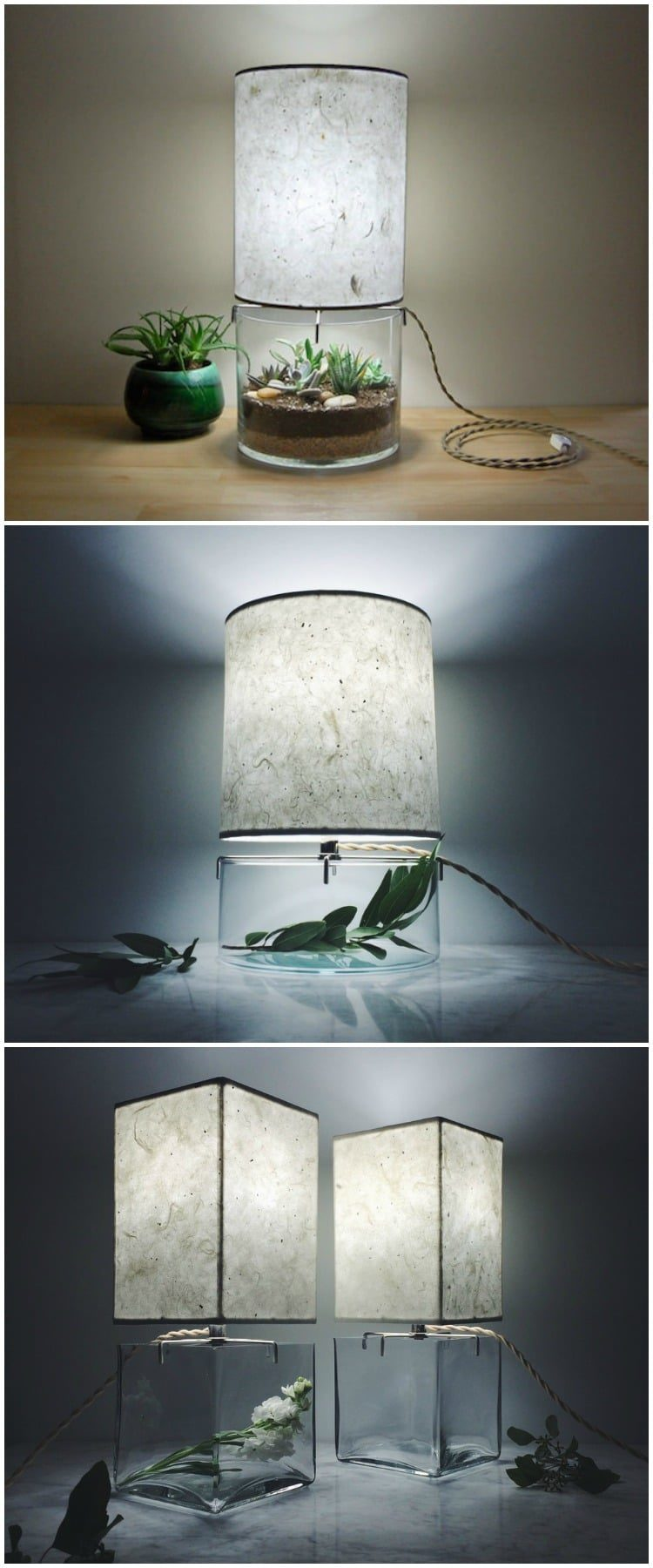 Handmade Terrarium Paper Table Lamp Modern Vintage