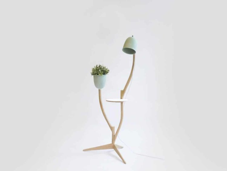 Multi Purpose Branch Out: Table, Flower Pot and Floor Lamp In One Floor Lamps Wood Lamps
