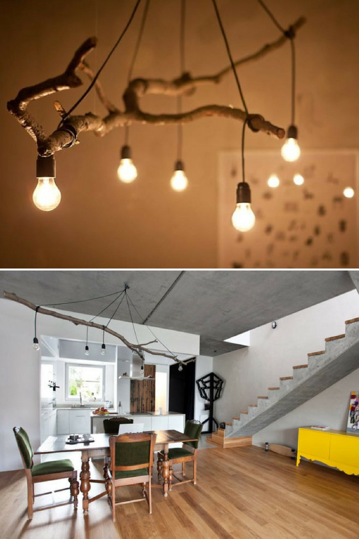 Perfect tree branch chandelier for your modern farmhouse lighting, living room, rustic, simple with nice light bulbs! #chandelier #diylighting #farmhousedecor #handmadelighting #lightbulb #lightingdesign #modernlighting #rusticlighting #woodworking