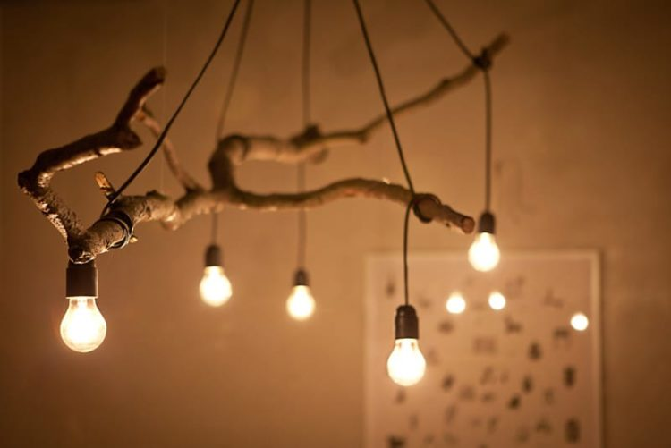 Natural Tree Branch And String Light Chandelier - wood-lamps, pendant-lighting