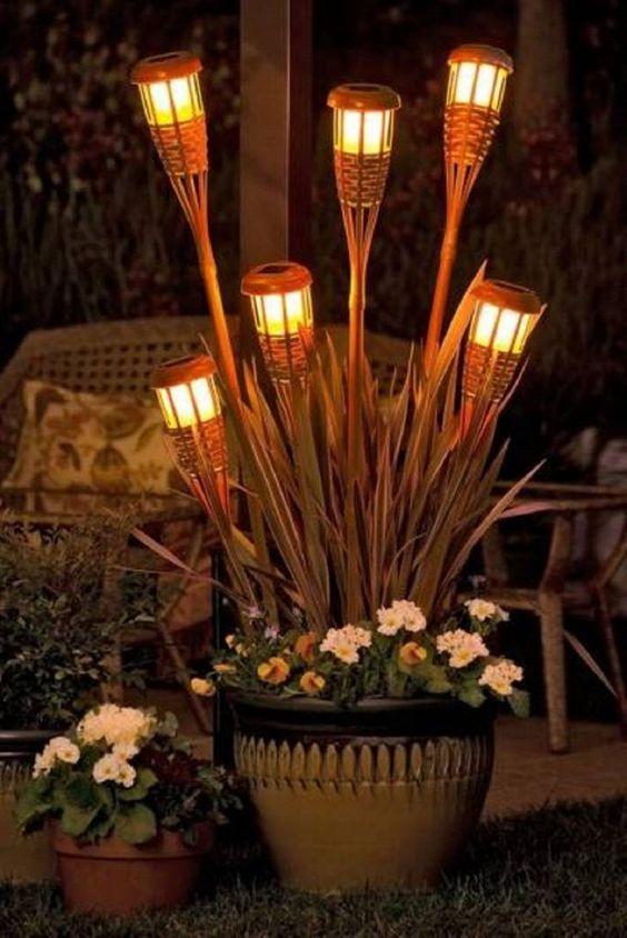 14  Diy Rattan Tiki Torch Outdoor Patio Lights