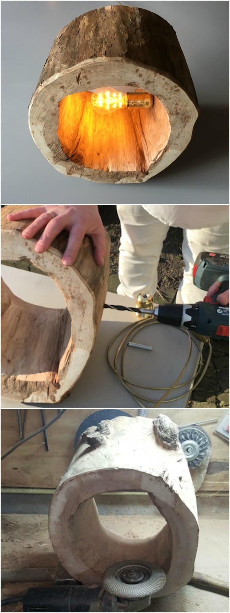 How to Make a Spectacular Stump Floor Lamp - wood-lamps, restaurant-bar, floor-lamps