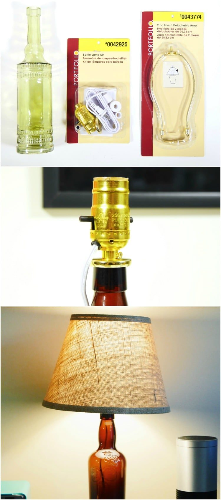 Turn an Old Liquor Bottle into a Desk Lamp in 10 Minutes Table Lamps