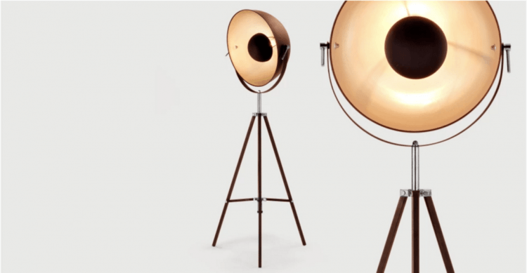 Vintage Chicago Tripod Floor Lamp with Brass Finish