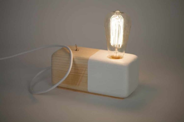 Wood Modern Handmade Table Block Lamp - wood-lamps, desk-lamps