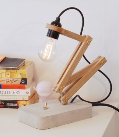 Wood and Concrete Pliable Desktop Lamp