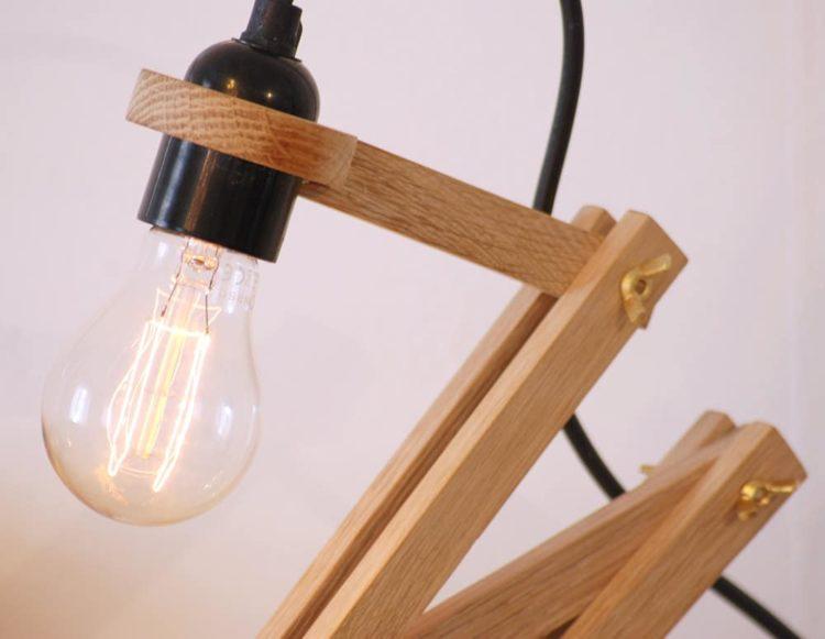 Wood Oak and Concrete Pliable Desk Lamp Desk Lamps Wood Lamps