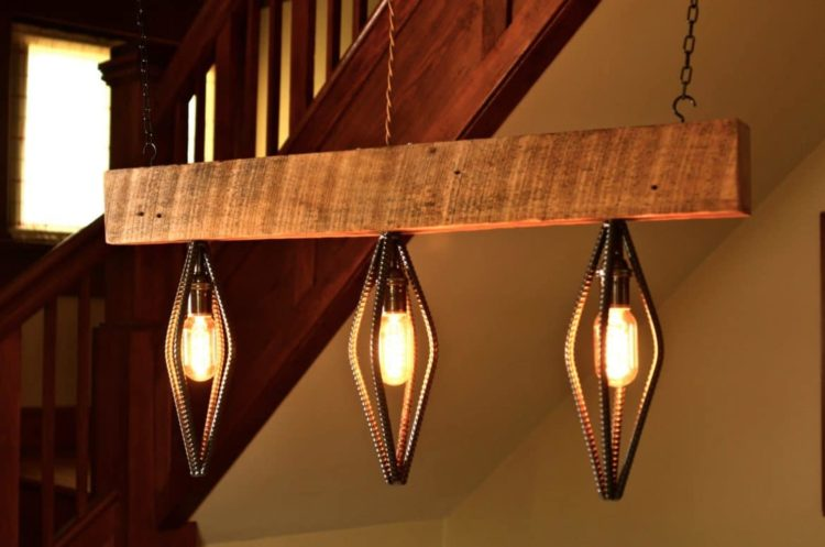 Industrial Barn Wood Light Fixture - wood-lamps, restaurant-bar, pendant-lighting, chandeliers