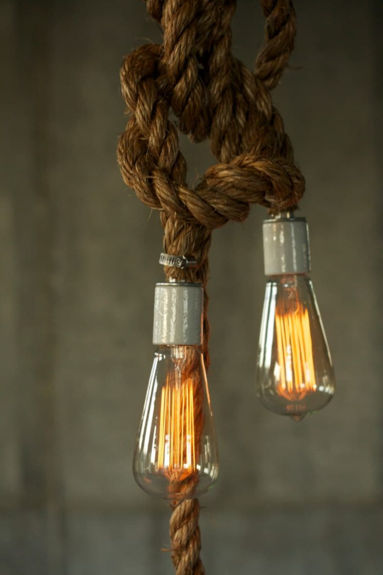 Rustic Industrial Chandelier with Rope - chandeliers