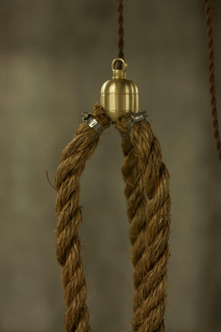 Rustic Industrial Chandelier with Rope - chandeliers