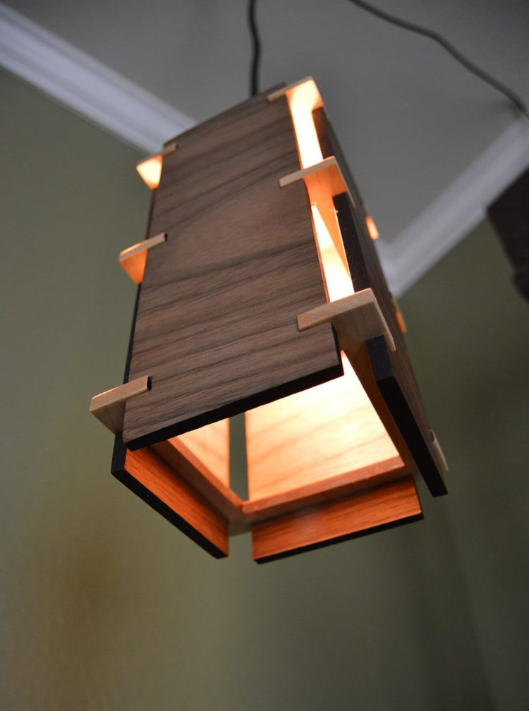 Square wooden pendant light id lights for Lamp wooden