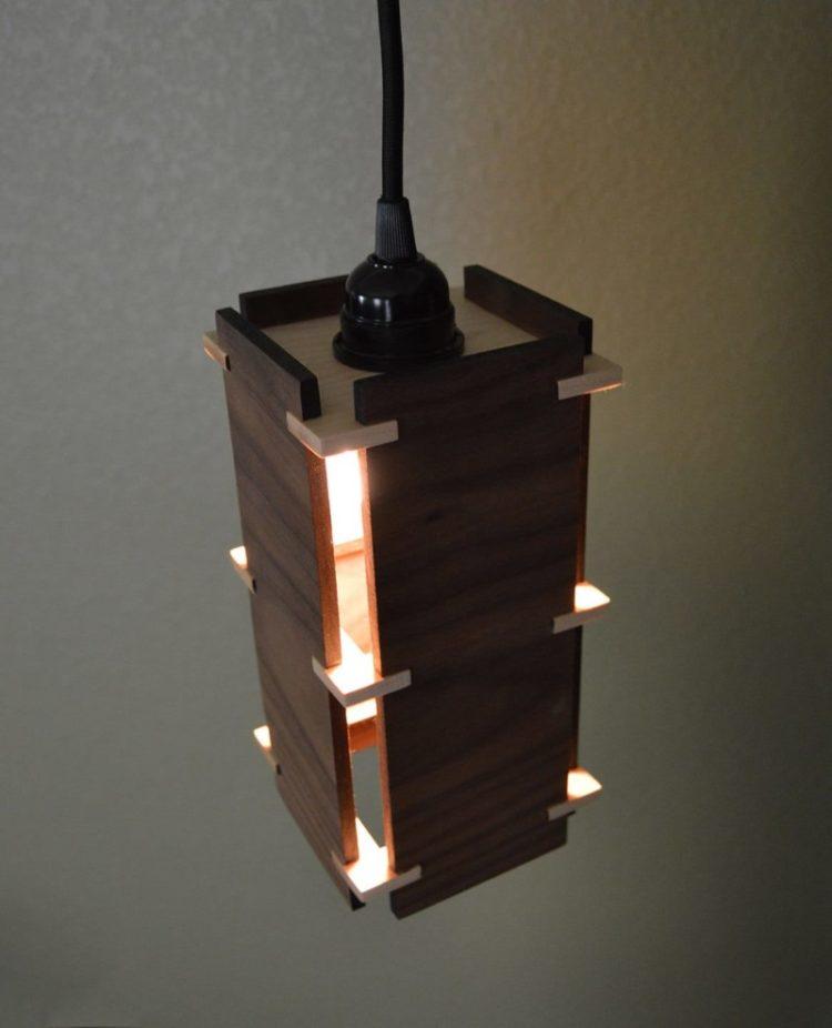 Square Wooden Pendant Light