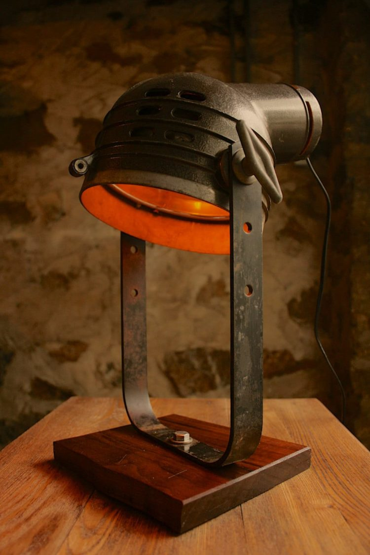 Vintage Movie Spotlight with Oak Desk Lamp - desk-lamps