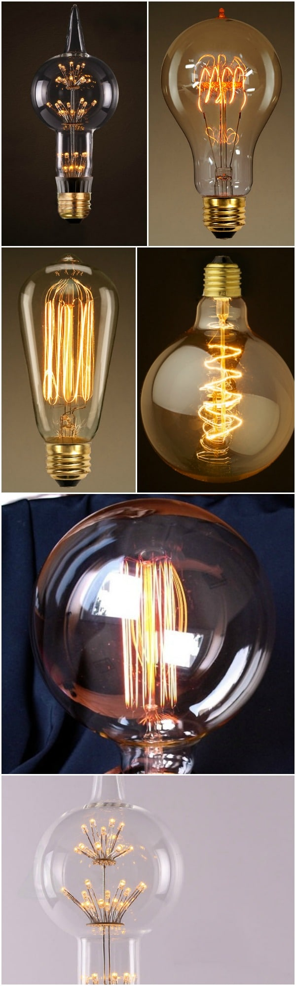 How to choose an Edison light bulb for your lamp? This comparative present you 10 great Edison bulbs to give a vintage style to your home decor. Vintage style incandescent lamp light historically accurate, beautifully reproduced! Fine quality true historic reproduction from this important ever-popular era in lighting and architecture. #lightbulb #diylighting #handmadelighting #lightingdesign #vintagelighting
