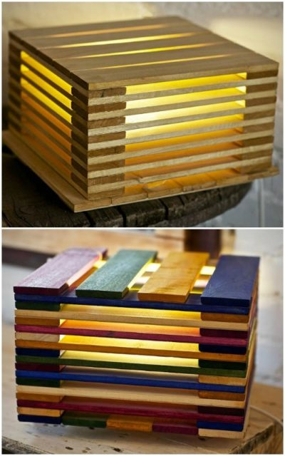 Cute Mini Pallet Bedside Lamps