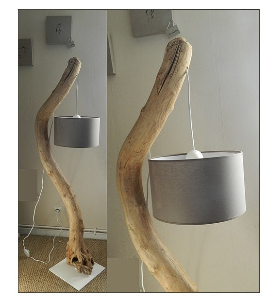 Simple easy driftwood floor lamp tutorial id lights - Fabriquer un lampadaire en bois ...