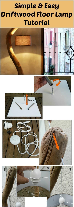 Simple & Easy Driftwood Floor Lamp Tutorial